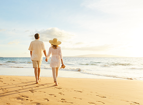 Couple on Beach with Retirement Planning in Place